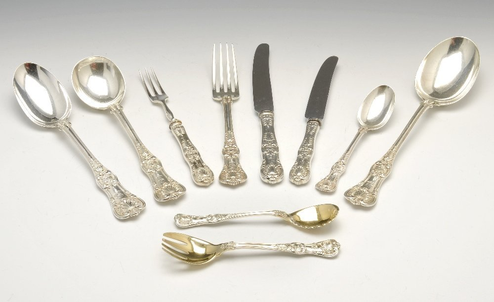 A Tiffany & Co sterling silver part canteen in Queen's