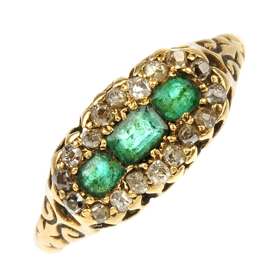 A late Victorian 18ct gold emerald and diamond cluster