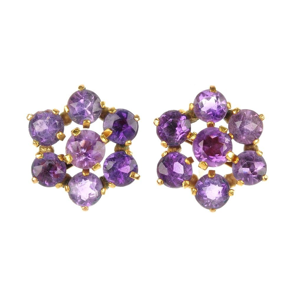 A pair of amethyst floral cluster ear studs.