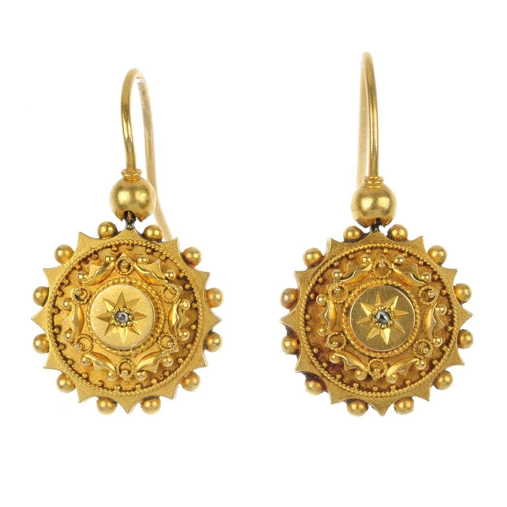 A pair of late Victorian 15ct gold diamond ear