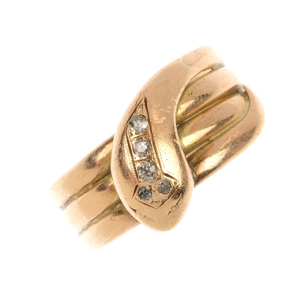 An early 20th century 9ct gold diamond snake ring.
