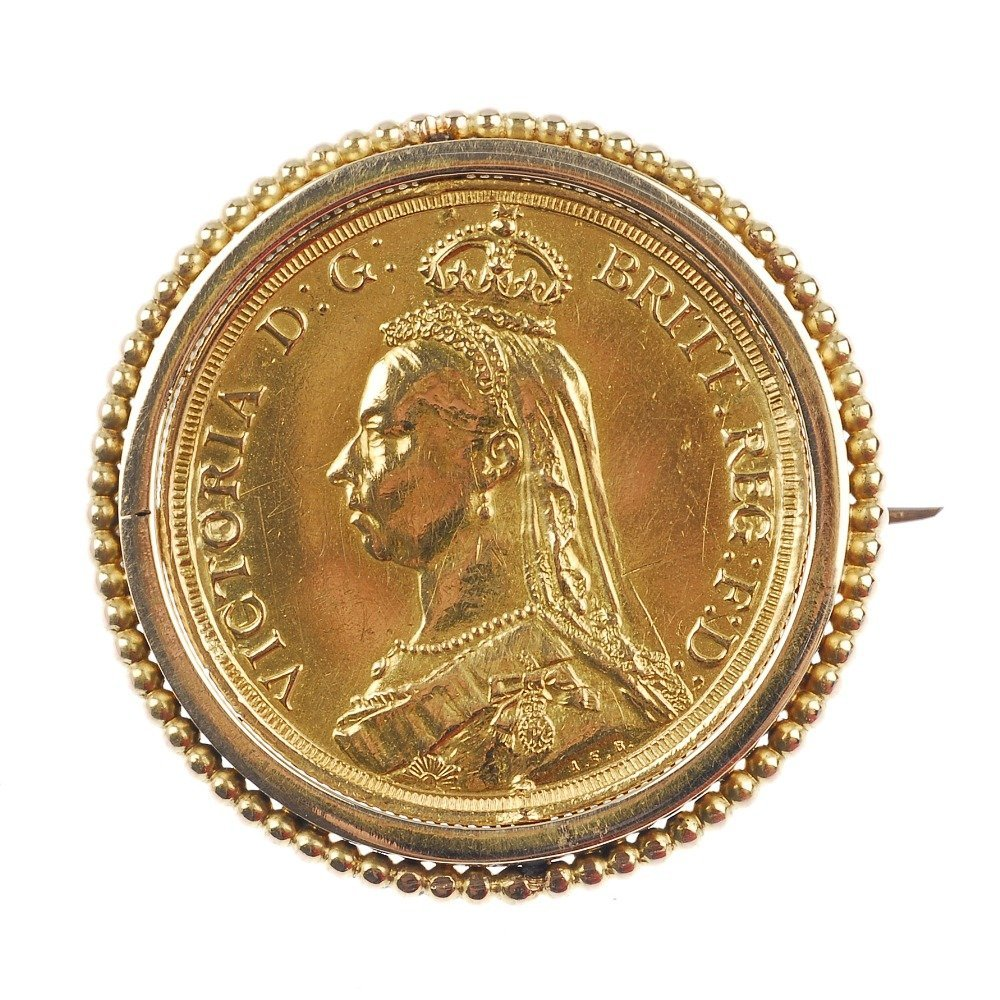 Victoria, Two-Pounds 1887, in brooch mount.