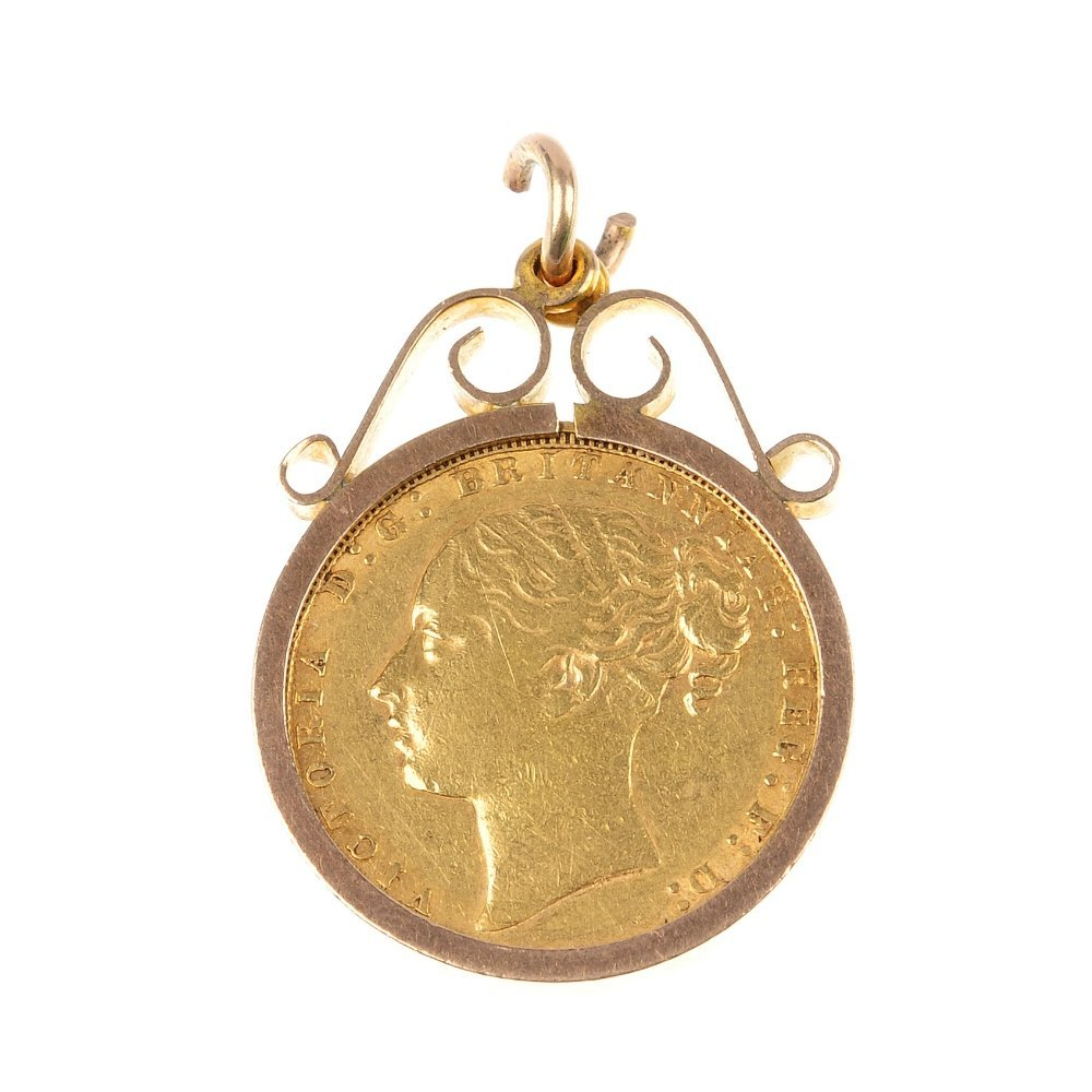 Victoria, Sovereign 1871 in ring mount.