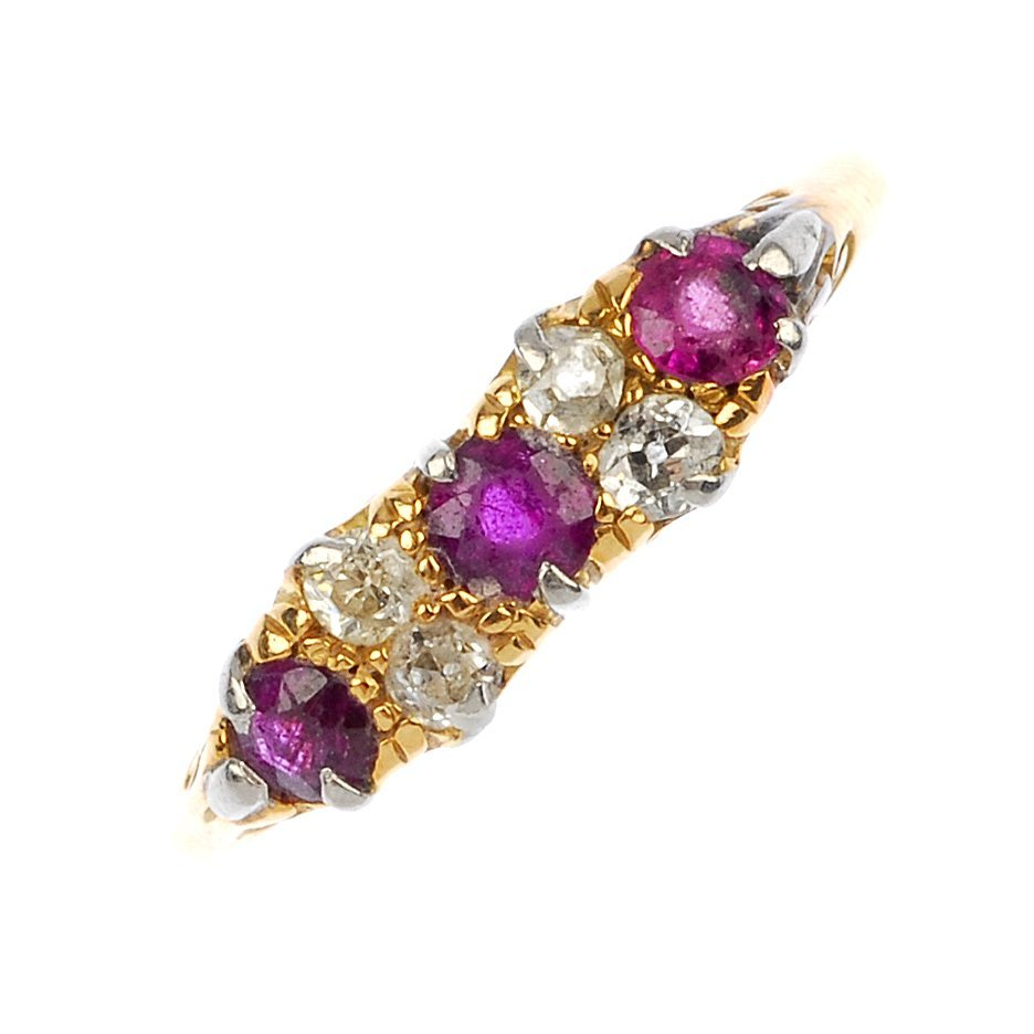 An early 20th century 18ct gold ruby and diamond dress