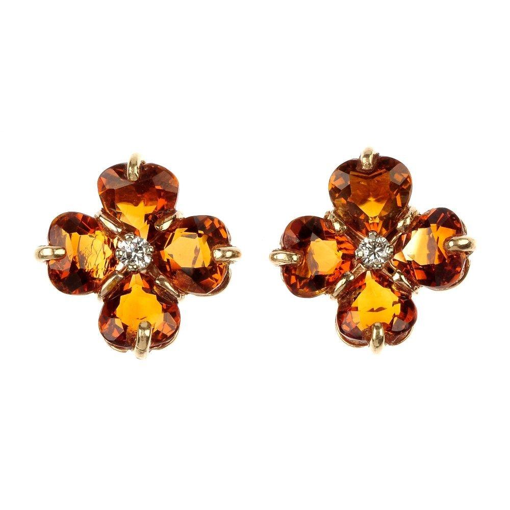 A pair of citrine and diamond foliate ear studs.