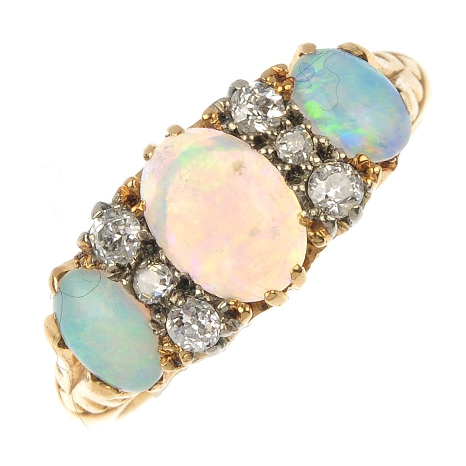 A late 19th century 18ct gold opal and diamond ring.