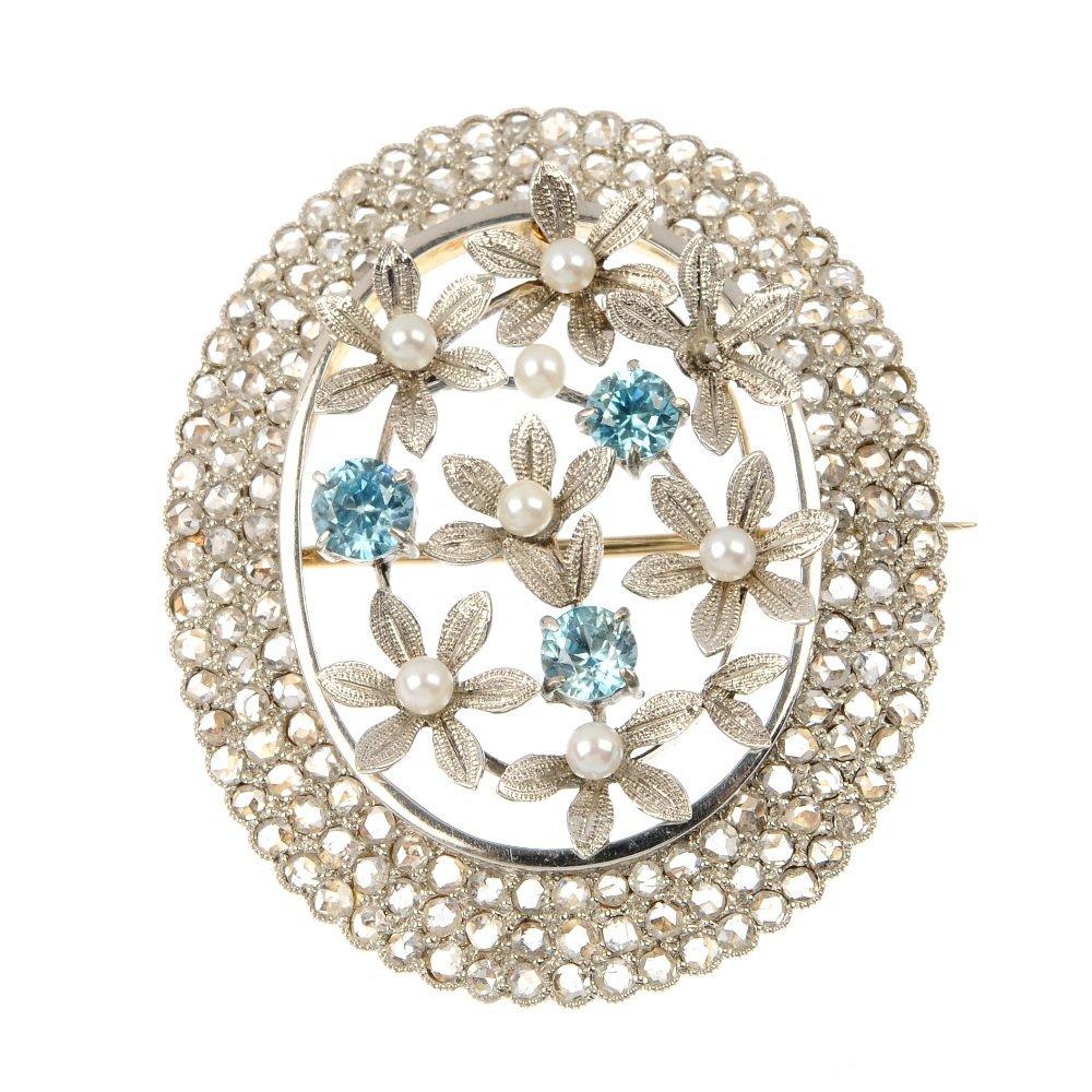 A mid 20th century diamond, zircon and seed pearl flora