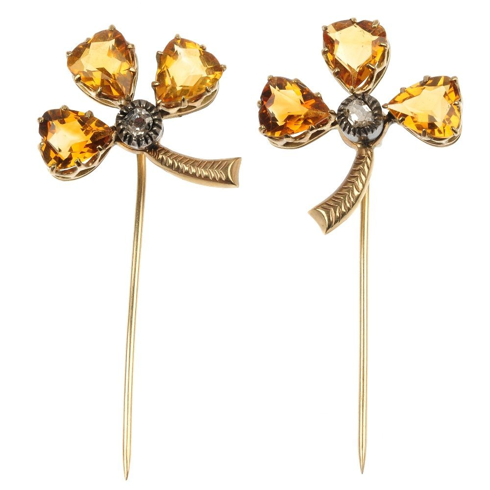 A pair of mid 20th century citrine and diamond clover s