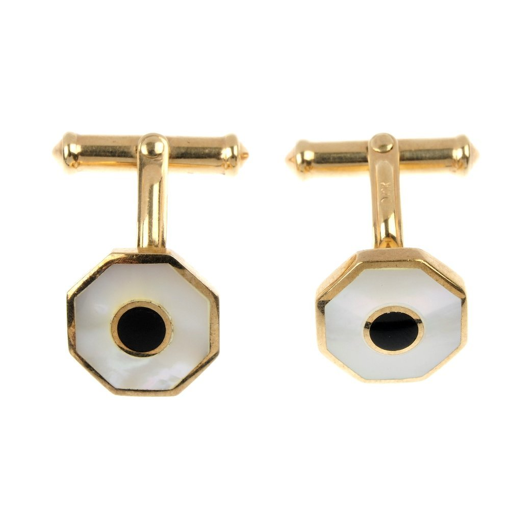 A pair of 9ct gold cufflinks, together with four early