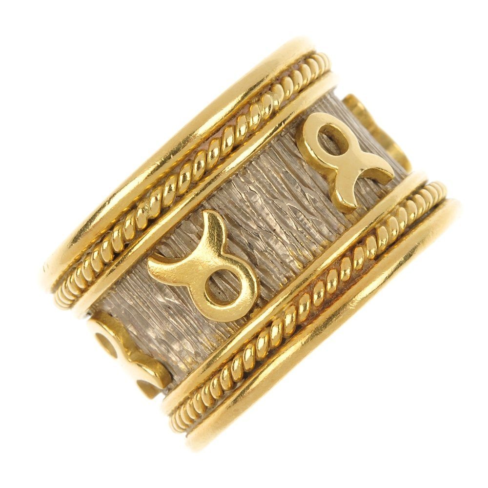 A 1970s 18ct gold band ring.