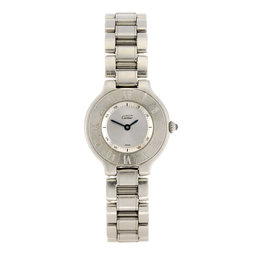 (1061024347) A stainless steel quartz Cartier Must De C