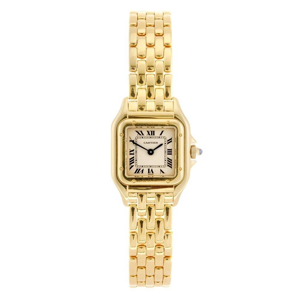 (121608) An 18k gold quartz Cartier Panthere bracelet w