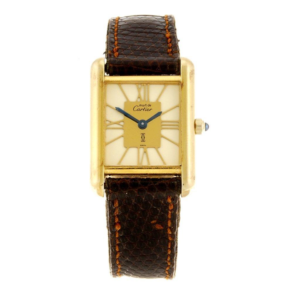 A gold plated silver quartz Must de Cartier wrist watch