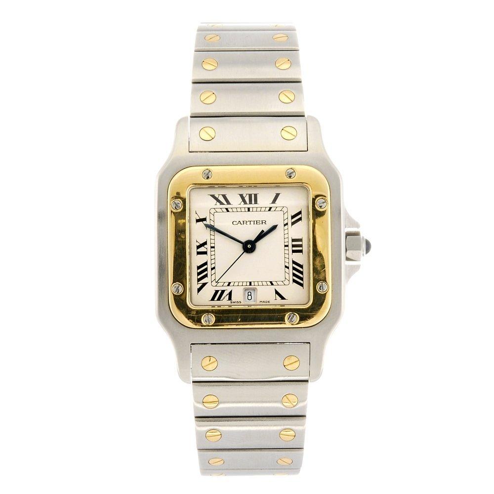 (916004835) A bi-metal quartz Cartier Santos bracelet w