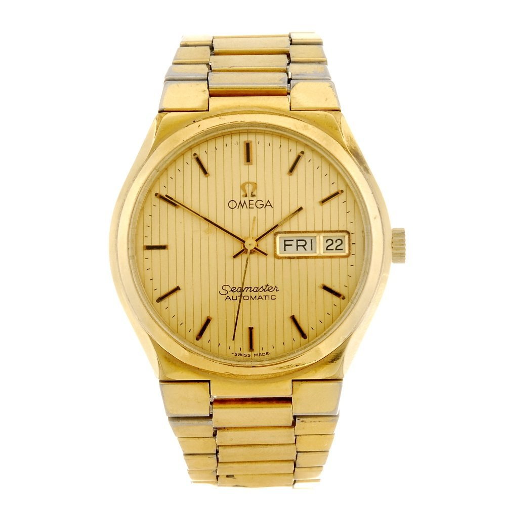 A gold plated automatic gentleman's Omega Seamaster bra