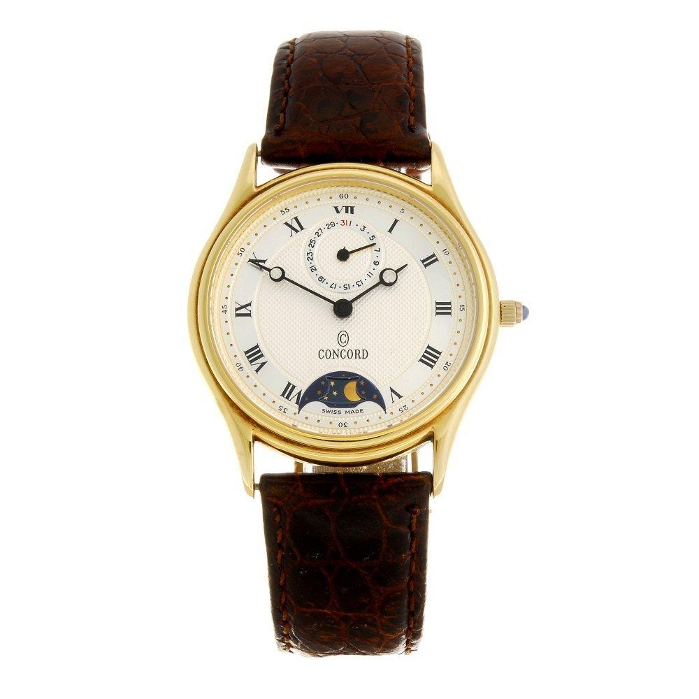 A 14k gold quartz gentleman's Concord wrist watch.