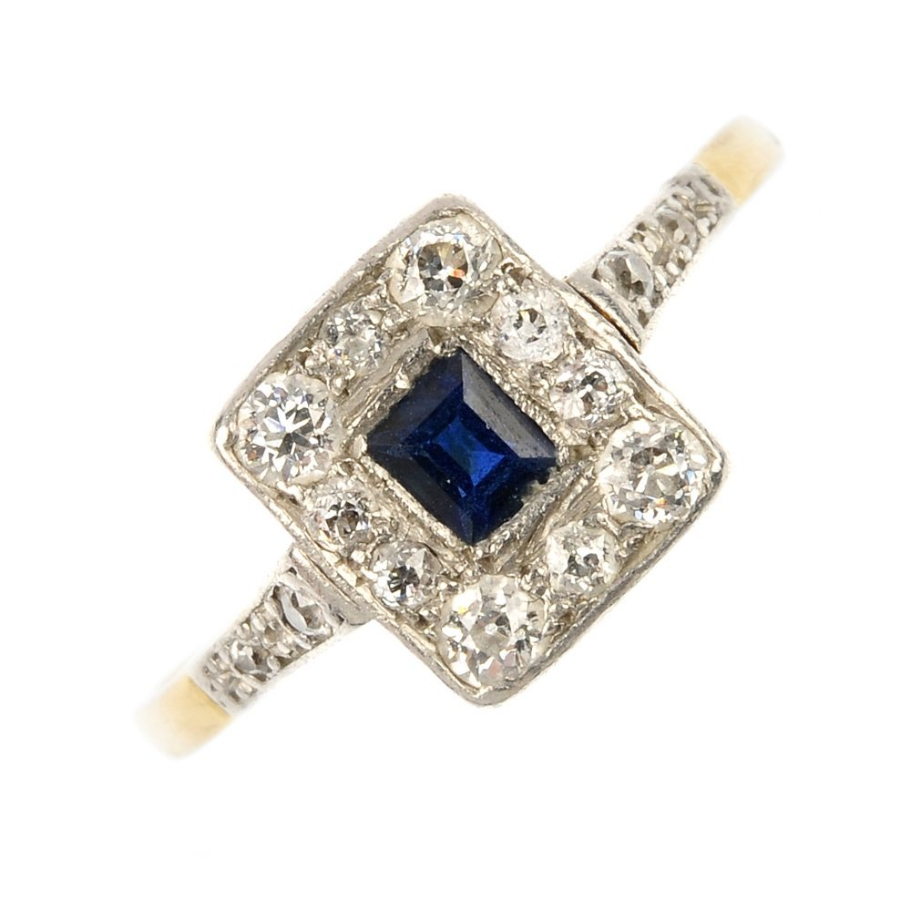 A mid 20th century platinum and 18ct gold sapphire and