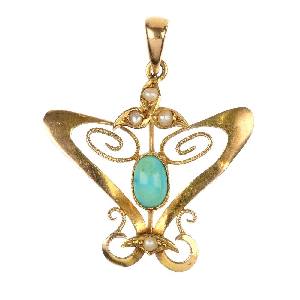 An early 20th century 9ct gold gem-set pendant and two