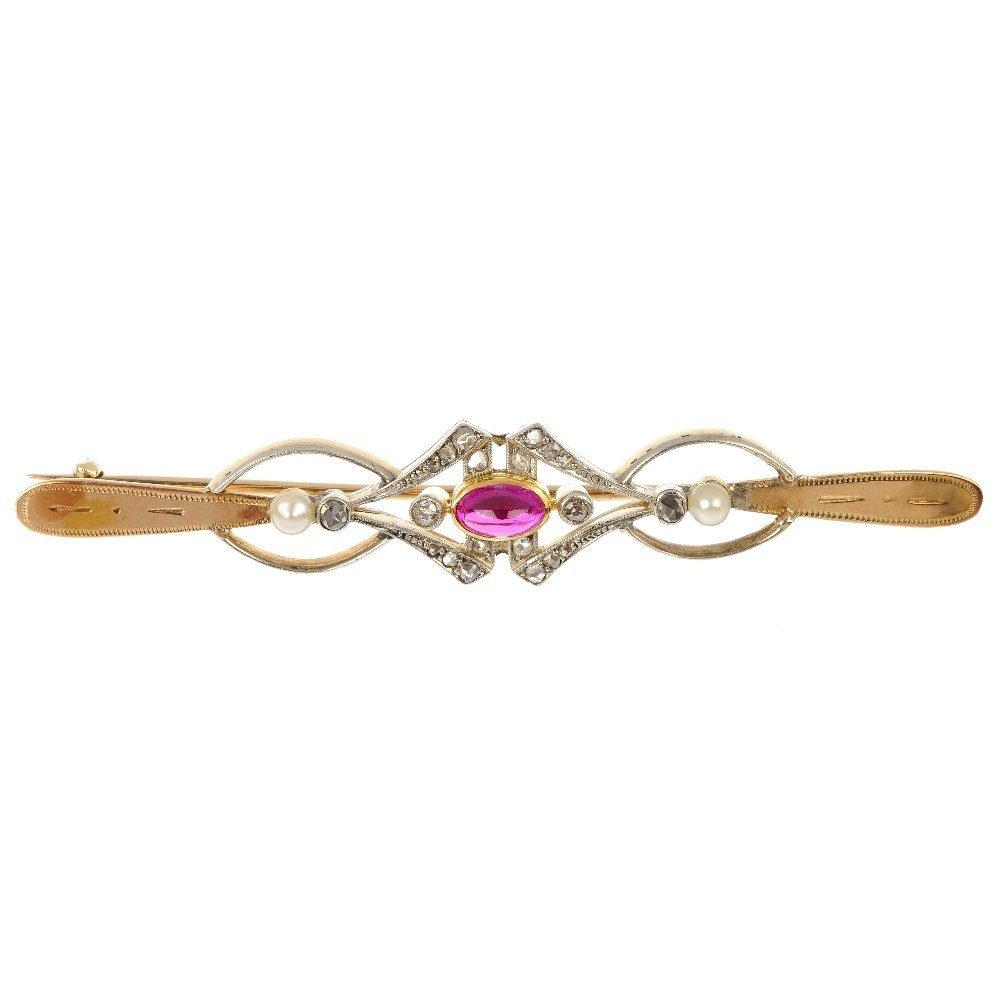 A synthetic ruby, seed pearl and diamond bar brooch.