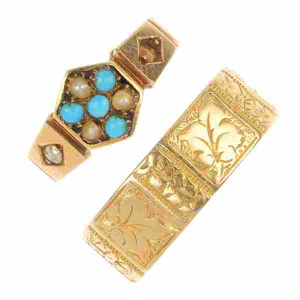 Two late Victorian 18ct gold rings, circa 1880.