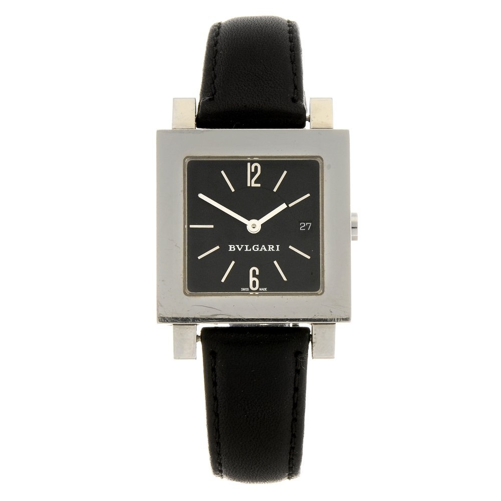 A stainless steel quartz Bulgari Quadrato wrist watch.