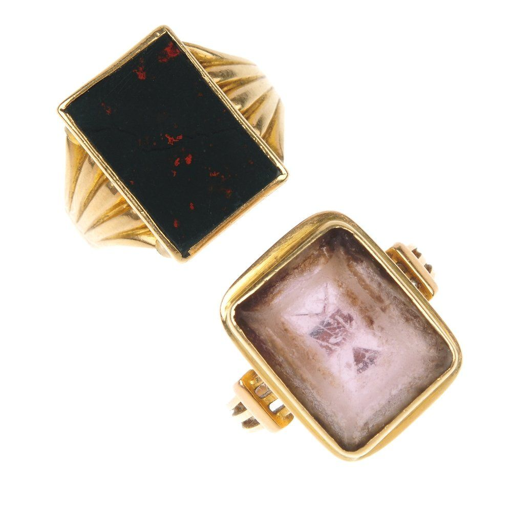 Two late Victorian gold gem-set signet rings, circa