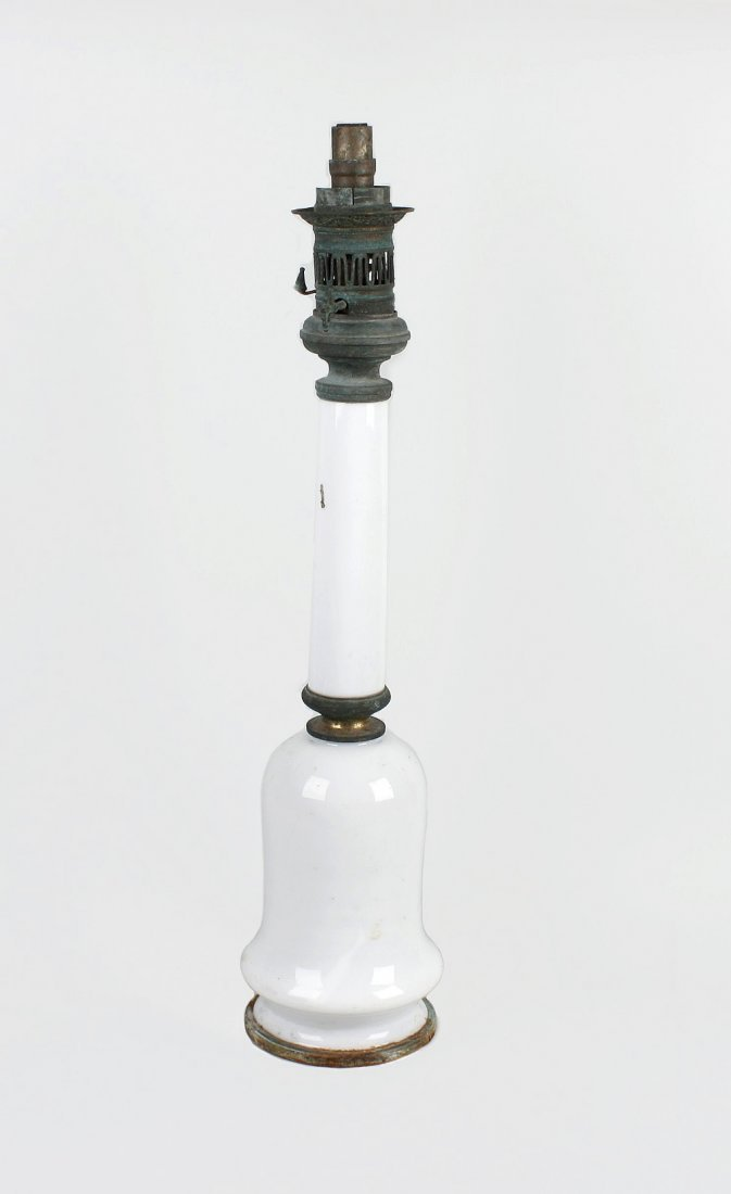 A large Victorian Bright's white opaque glass lamp