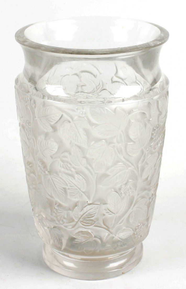 A good lalique frosted and moulded glass vase of ovoid