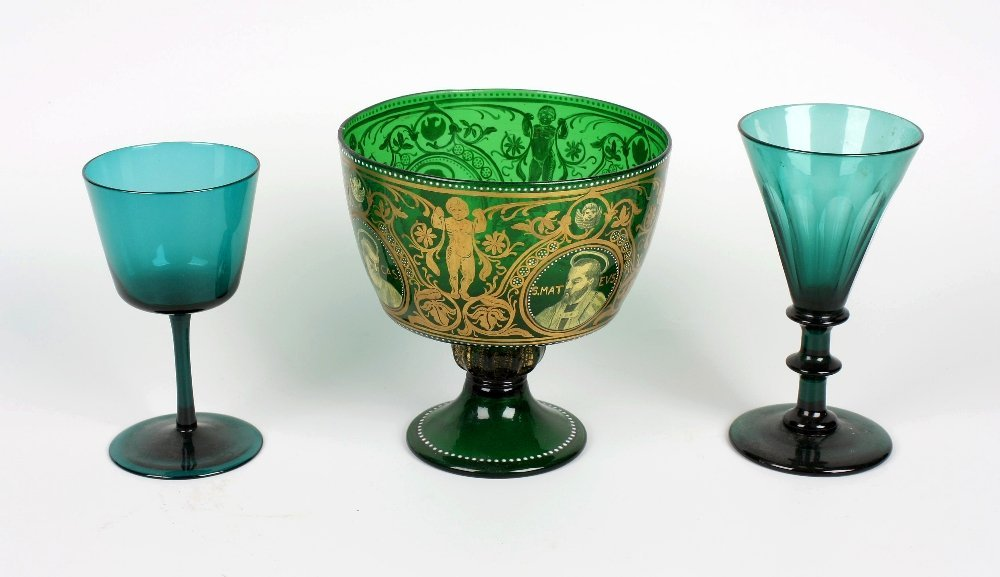 A collection of 19th century green glassware