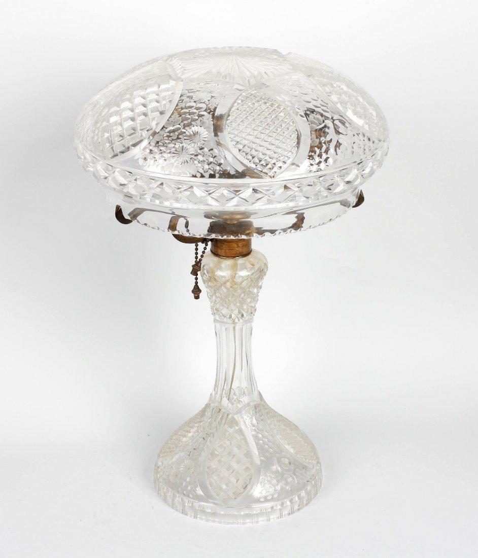 A cut glass 'mushroom' table lamp