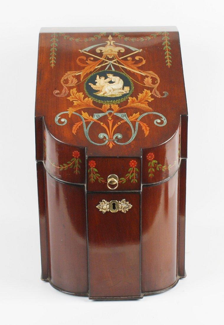 A good 19th century mahogany veneered cutlery knife box