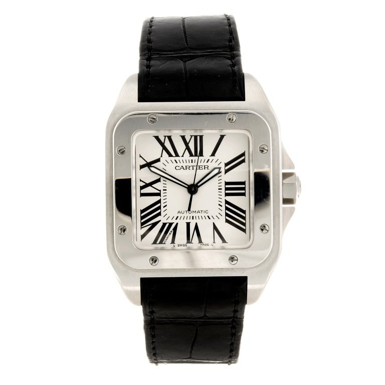 (994001834) A stainless steel automatic Cartier Santos