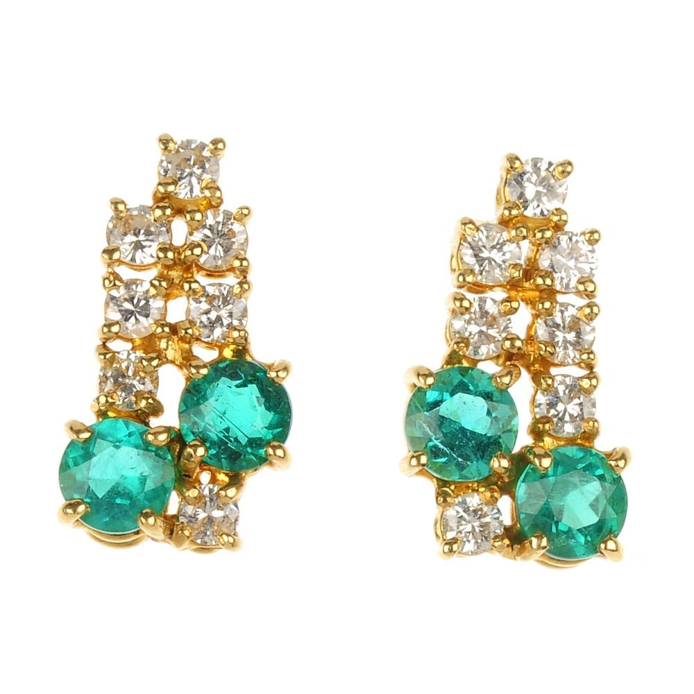 A pair of 18ct gold emerald and diamond ear pendants.