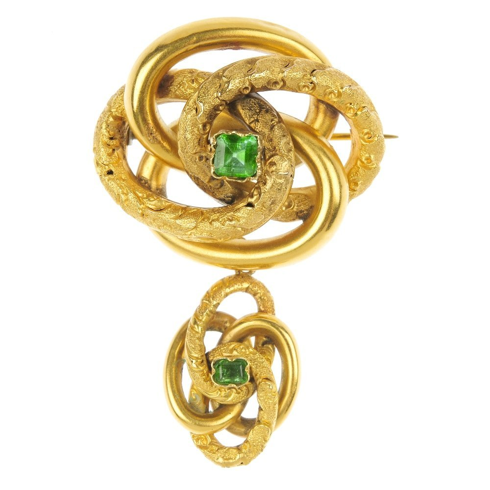 A mid 19th century foil-back emerald pendent brooch,