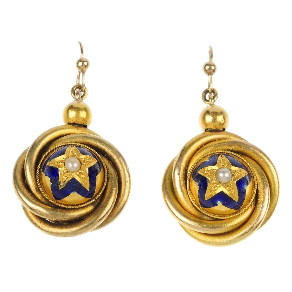 A pair of late 19th century gold enamel and seed pearl