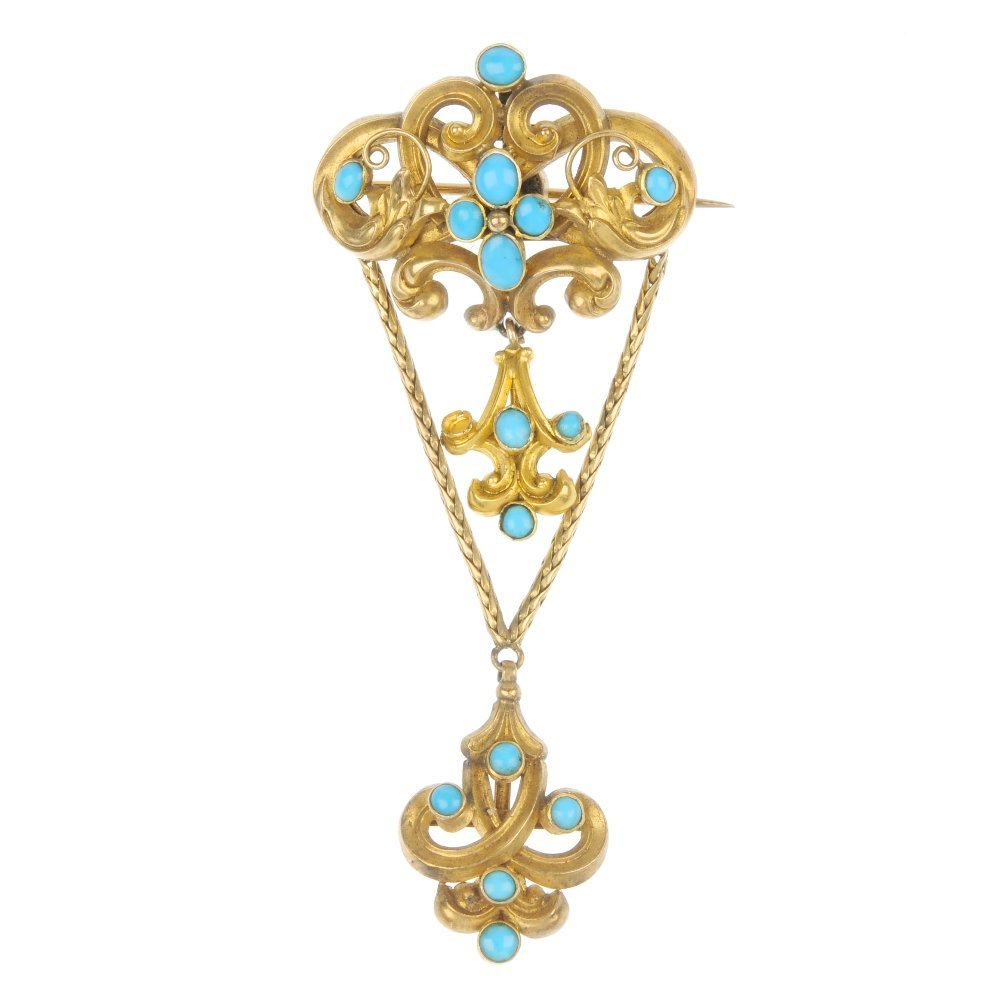 A late 19th century continental 18ct gold turquoise