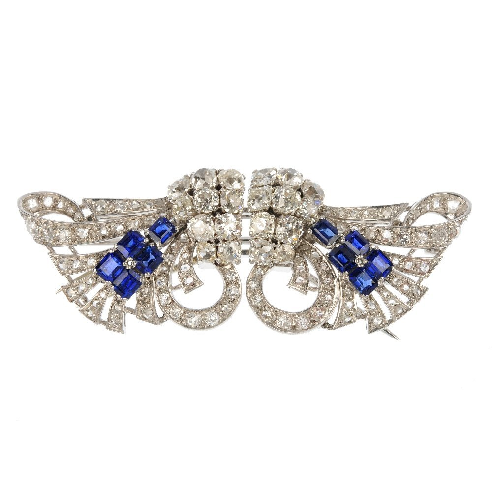 A mid 20th century sapphire and diamond double clip