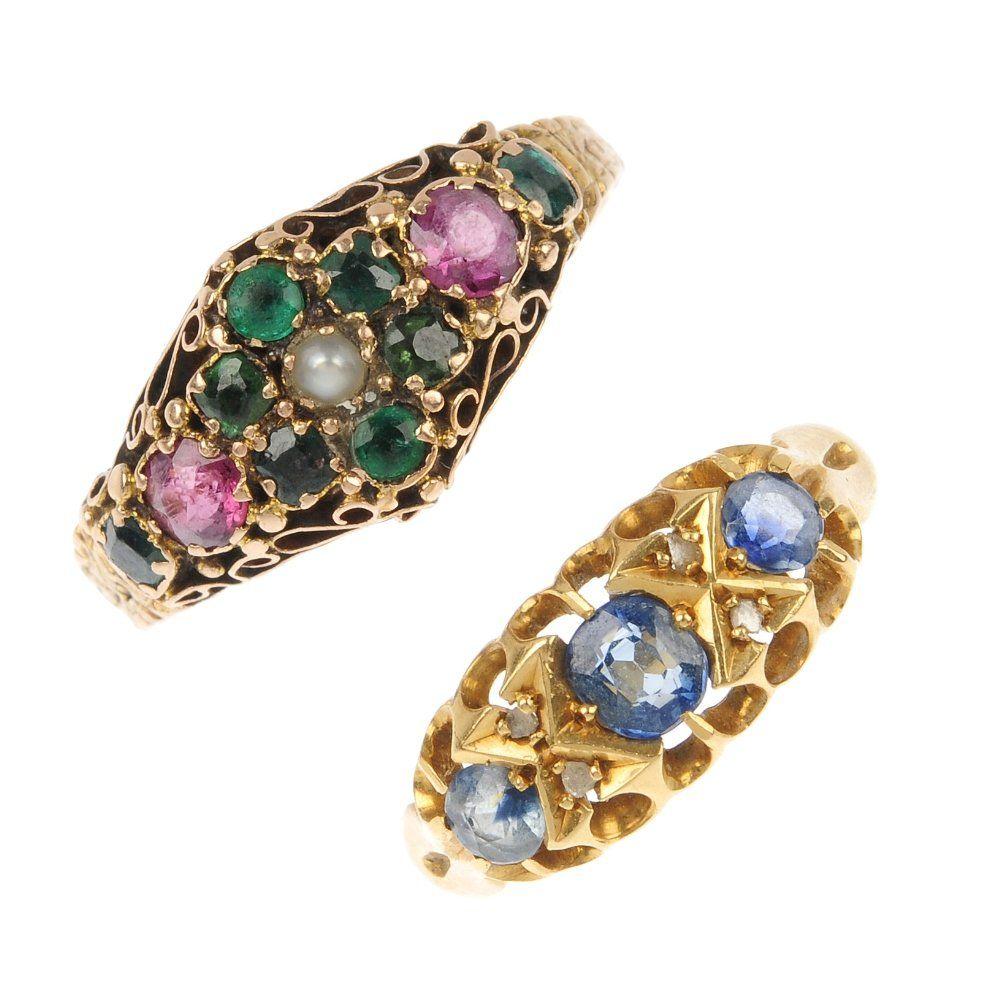 Two diamond and gem-set dress rings.