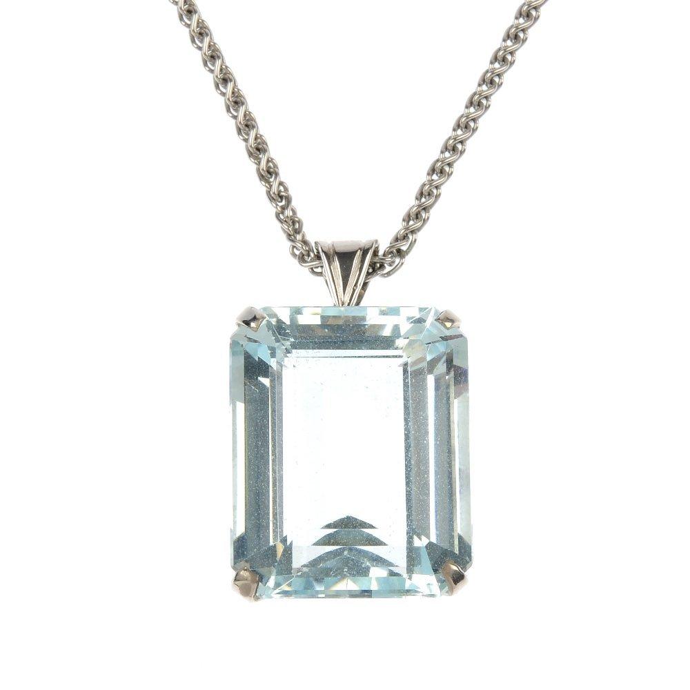 An aquamarine pendant.