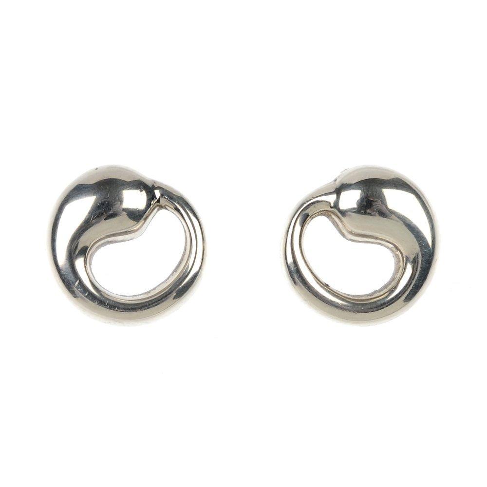 TIFFANY & CO. - a pair of silver 'eternal circle' ear