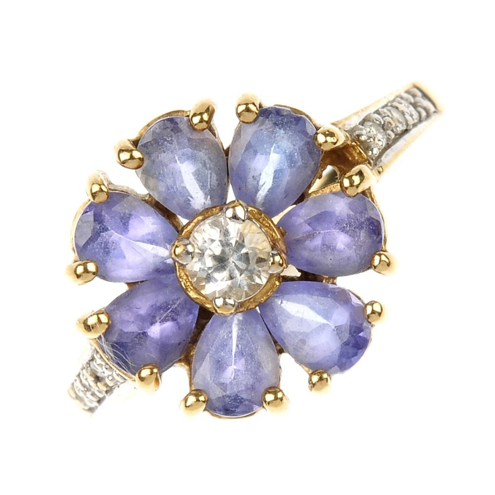 A 9ct gold tanzanite floral cluster ring.