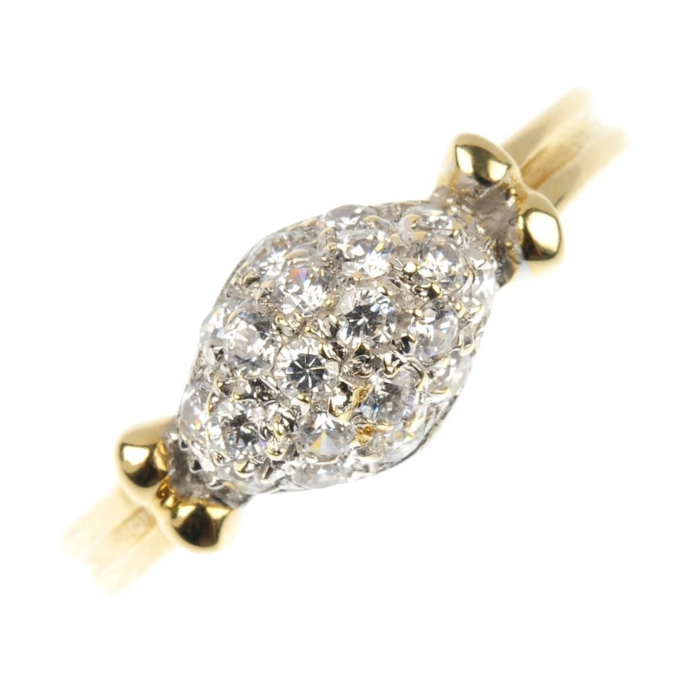 A cubic zirconia dress ring.