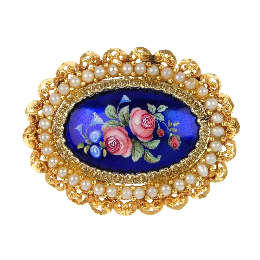 Two brooches and a bangle.