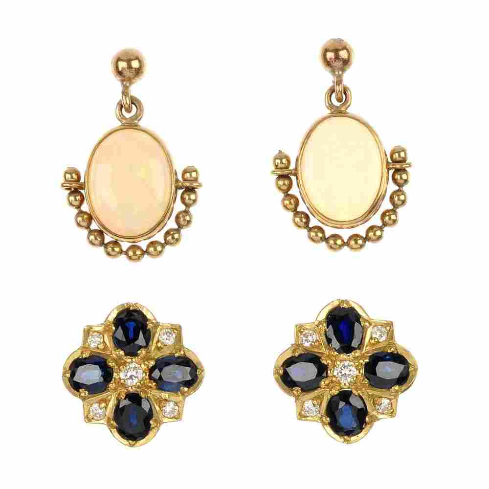 Two pairs of 9ct gold gem-set earrings.