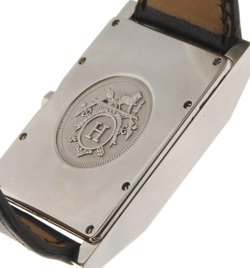 A stailess steel quartz gentleman's Hermes Tandem wrist - 2
