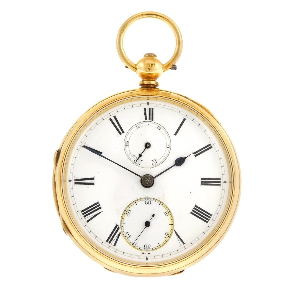 An 18ct gold key wind open face pocket watch with power