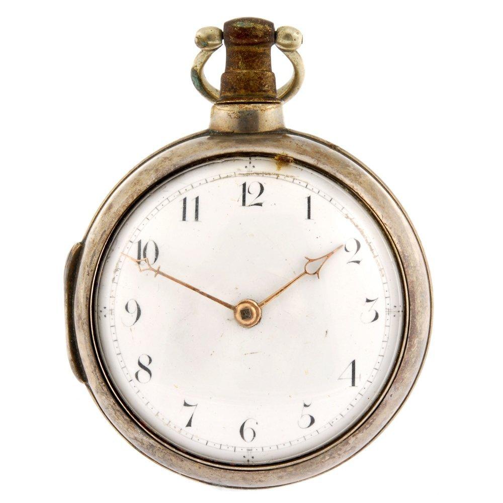 A George III key wind pair case pocket watch.