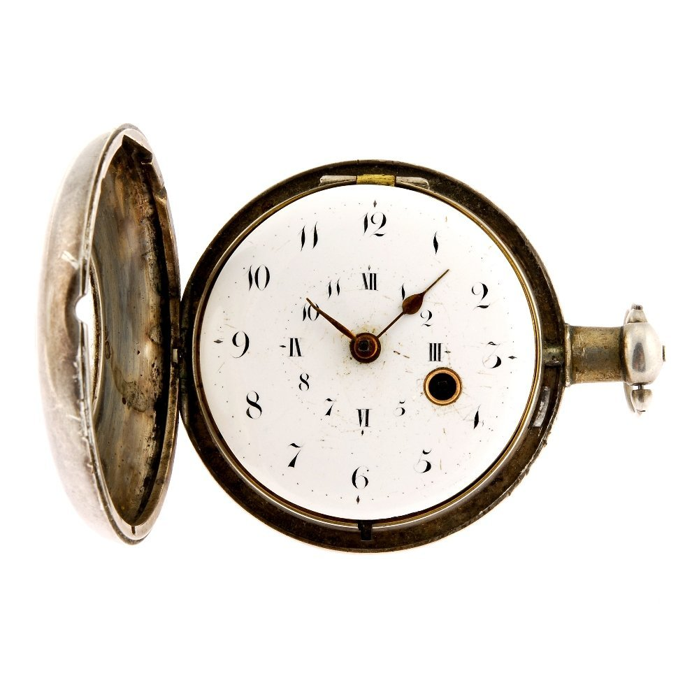 A silver pair case pocket watch with a silver open face