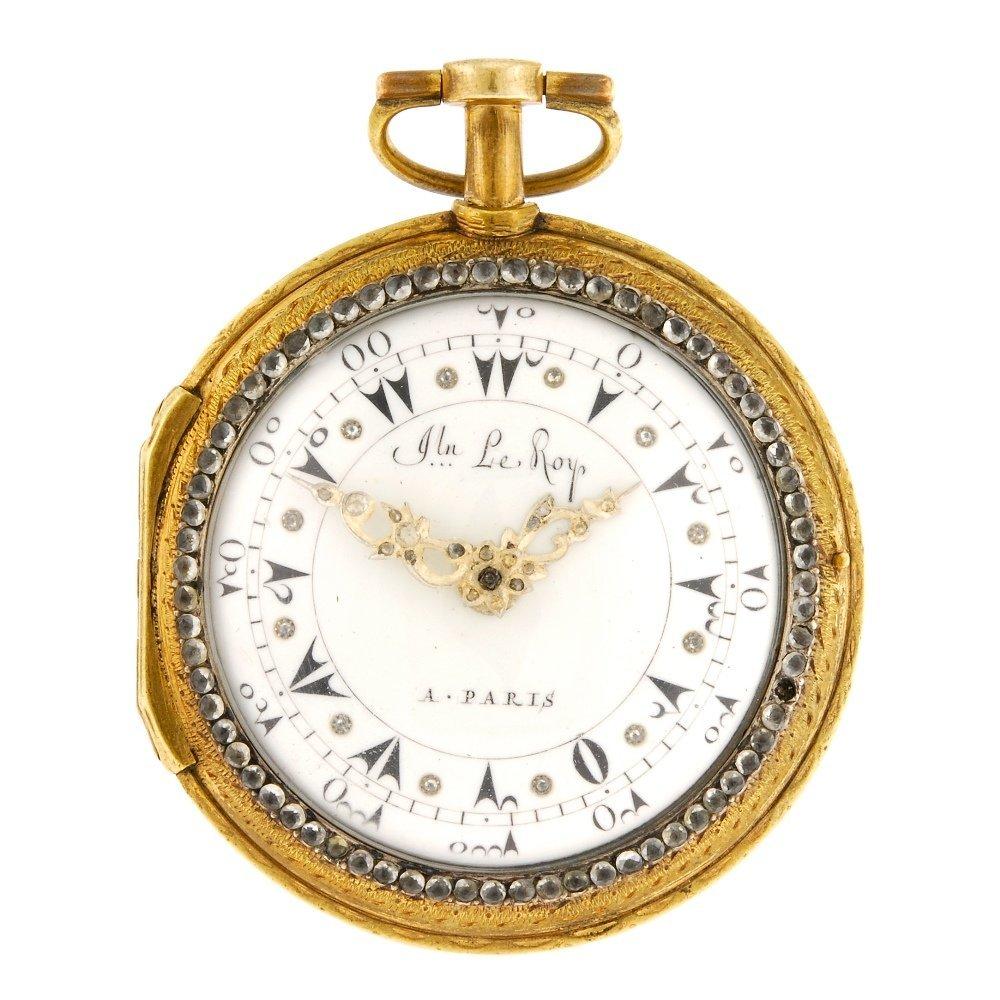 An enamel decorated key wind open face pocket watch spu