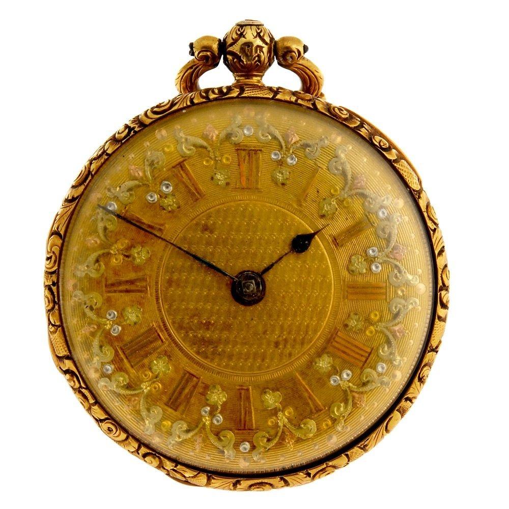 An 18ct gold key wind open face pocket watch.